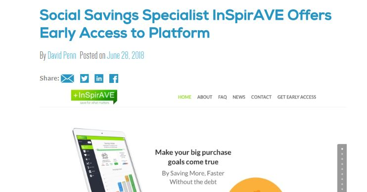 Social Savings Specialist InSpirAVE Offers Early Access to Platform